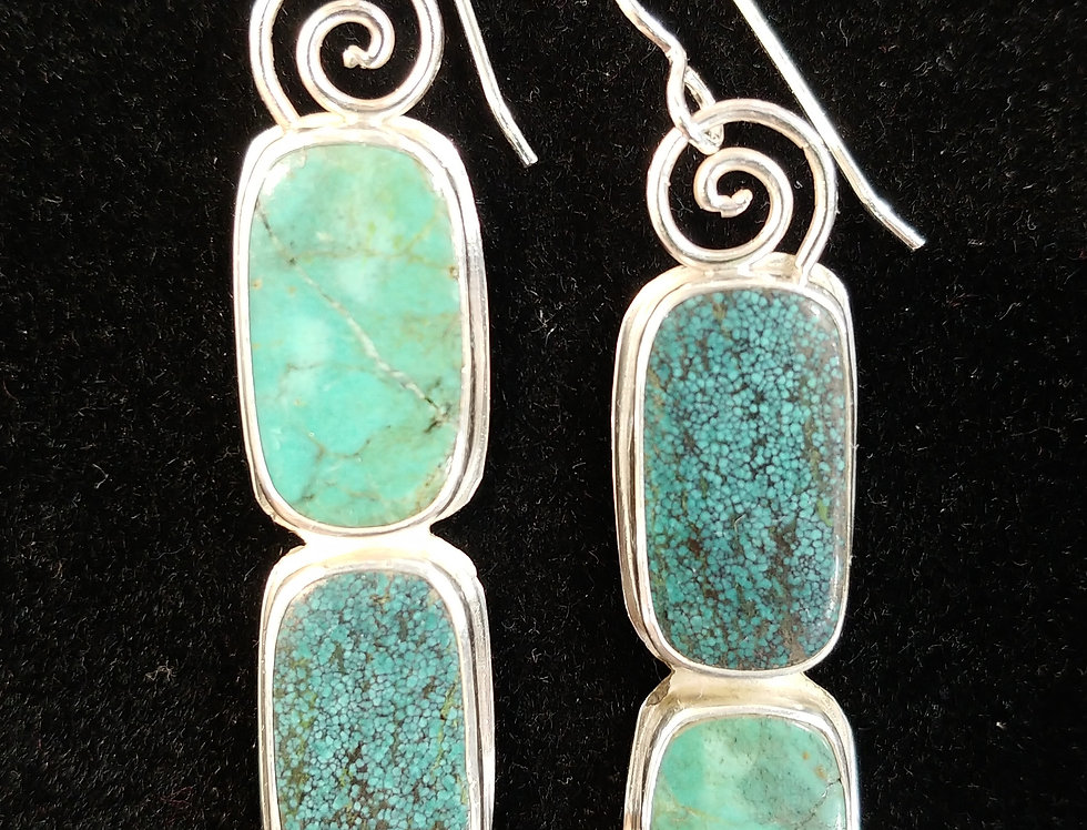 Double Tibetan Turquoise Earrings