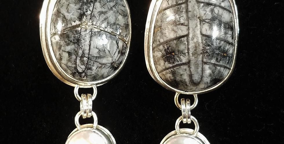 Orthoceras & Pearl Earrings
