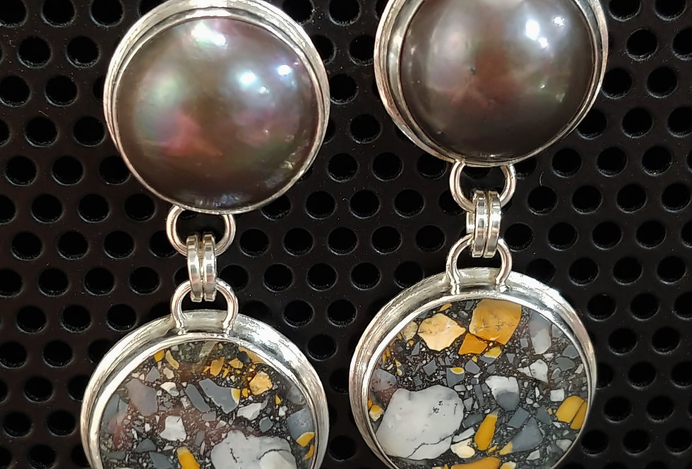 Mabe Pearl & Maligano Jasper Earrings