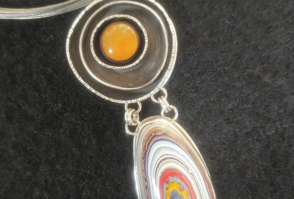 Fordite & Yellow Opal Pendant