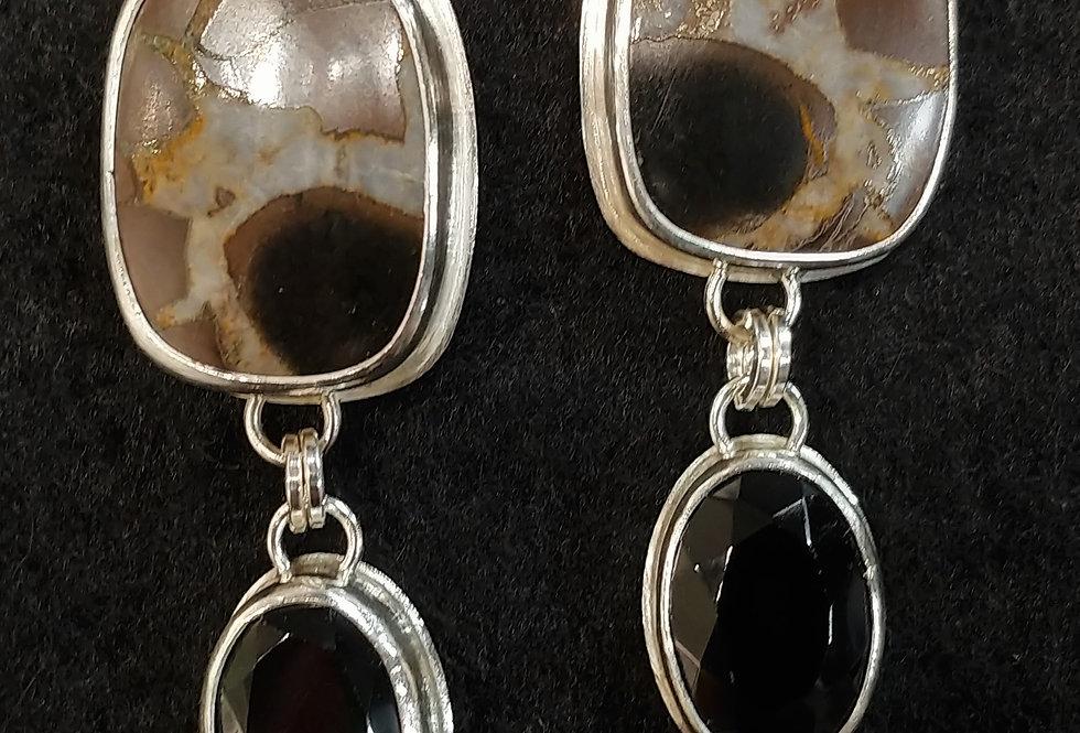 Septarian & Black Onyx Earrings