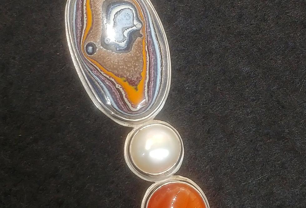 Fordite, Pearl & Agate Pendant