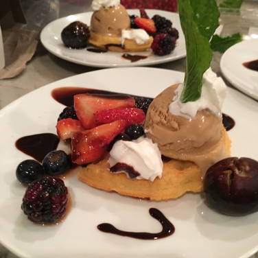 Belgian Waffle with Berries, Sea Salt and Caramel Gelato, Chocolate and Caramel Sauce and Whipped Cream