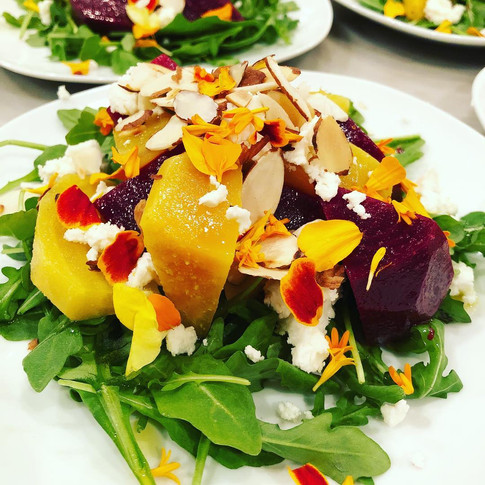 Red and Yellow Beet Salad with goat cheese