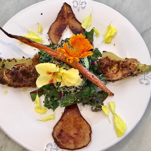 Baked Goat Cheese Stuffed Endives and Crispy Fried Pear Salad