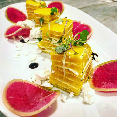 Vegan Yellow Beet Stack with pickled Wastermelon Radishes