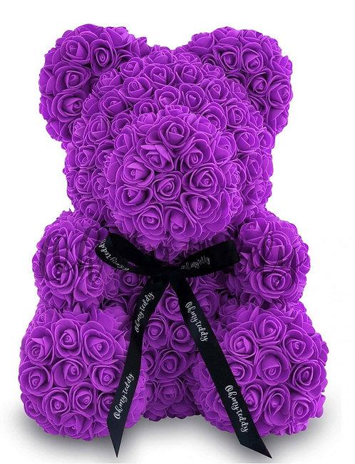 Пурпурный мишка из роз (40 см)