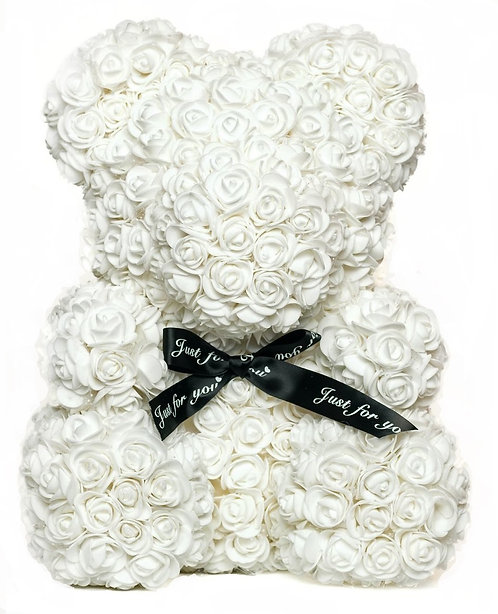 Белый мишка из роз (40 см)