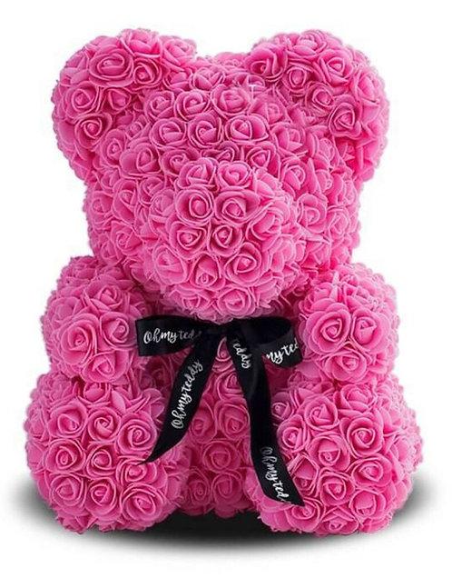 Розовый мишка из роз (40 см)
