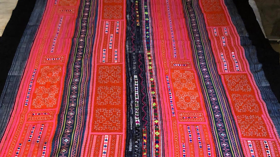 Black Hmong  Handcrafted Blanket