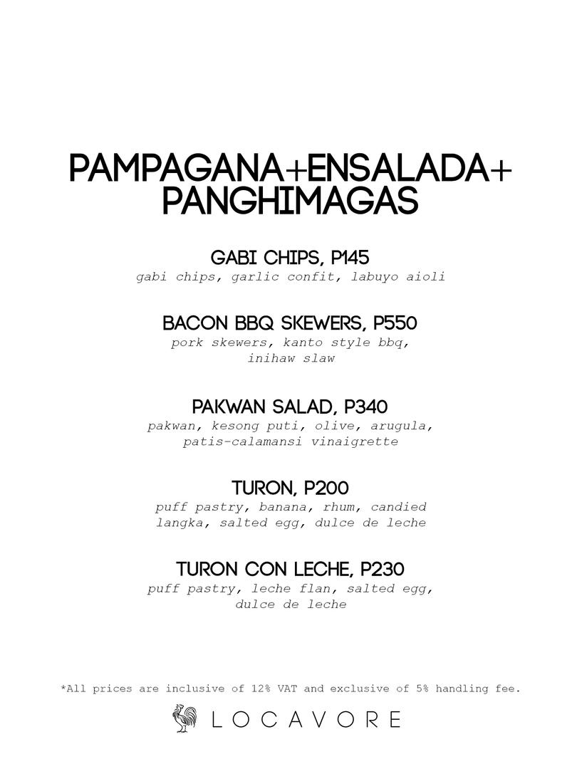 Pampagana + Panghimagas + Ensalada