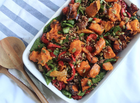 Roasted pumpkin, quinoa & buckwheat salad