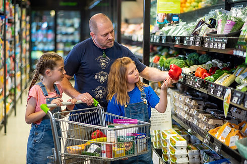Adult and children shopping