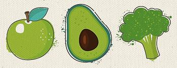 Apple, avocado and broccoli image