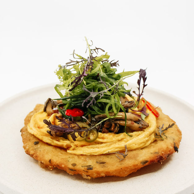 Chilli Scrambled Eggs, with Our House Made Sweet Chilli Sauce, Scallion Pancake, XO Mushrooms, Green Onion Salad