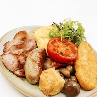 Big Breakfast, Eggs Your Way, Sourdough, Bacon, Roast Tomato, Mushrooms, Pork Sausage, Fried Haloumi, Hash Brown