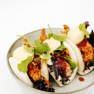 Bao Buns (3) w/ Crispy Fried Chicken or Cauliflower, Shredded Carrot, Salad Leaves, Sticky Soy, Kewpie + House Made Sweet Chilli