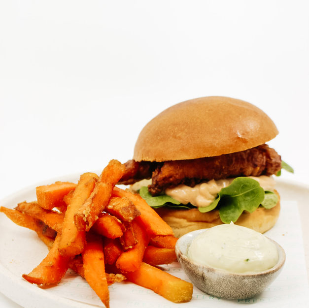 Fried Chicken Burger w/ Chipotle Mayo, Lettuce + French Fries and Dipping Sauce