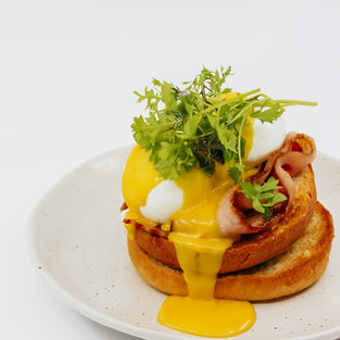 Bacon Benedict, Poached Free Range Eggs, Toasted Brioche & Kitchen Made Hollandaise
