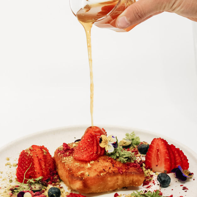 Knefeh French Toast, Natural Yoghurt, Berries in Textures, Orange & Honey Syrup, Pistachio + Florals