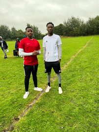 Andy with 2021 Kent Rep Zibani at the Boipuso football tournament