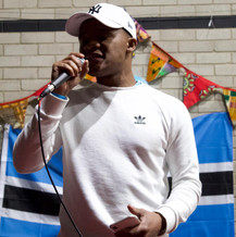 Newcastle Rep Kagiso giving a speech to introduce the BSU to the rest of the Batswana community in the UK
