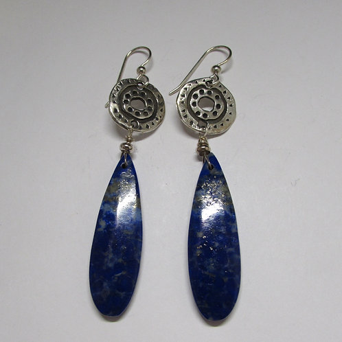 Handcrafted sterling silver, lapis and pyrite earrings.