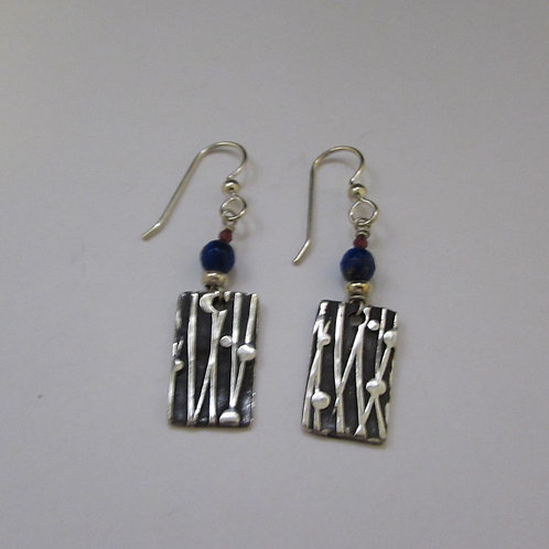 Handcrafted sterling silver earrings with lapis bead.