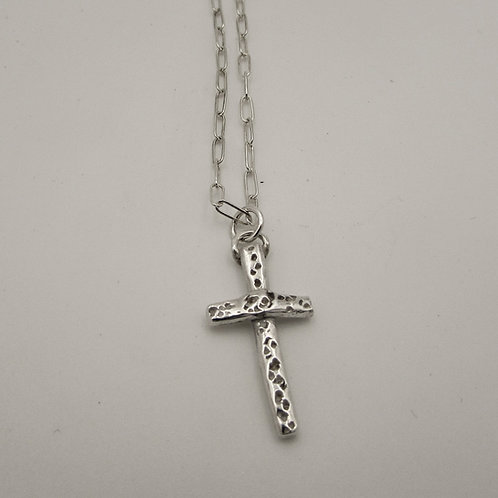 Handmade sterling silver cross necklace.