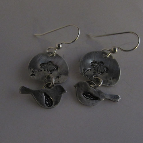 Hand fabricated sterling silver bird earrings.