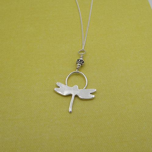 Handmade sterling silver dragonfly necklace.