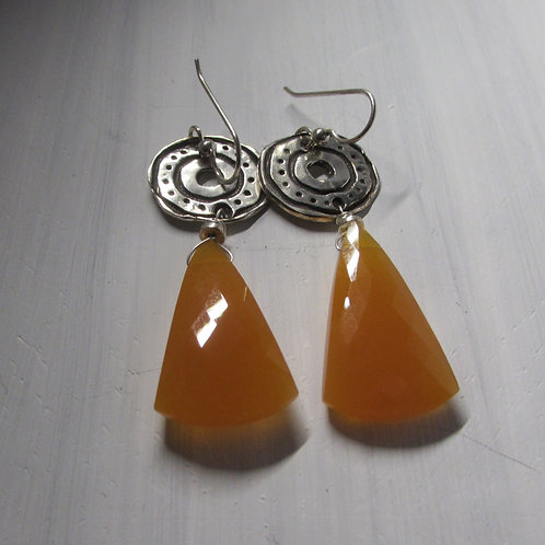 Handcrafted sterling silver and chalcedony stone earrings.