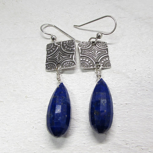 Handcrafted sterling silver earrings with lapis stones.