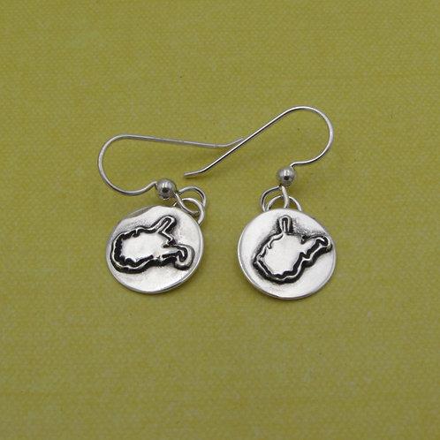Sterling silver West Virginia earrings.