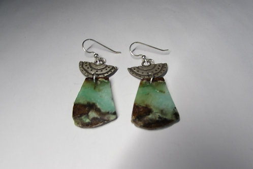 Handcrafted sterling silver earrings with chrysoprase stones.