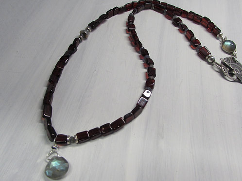 Handcrafted sterling silver Labradorite necklace.