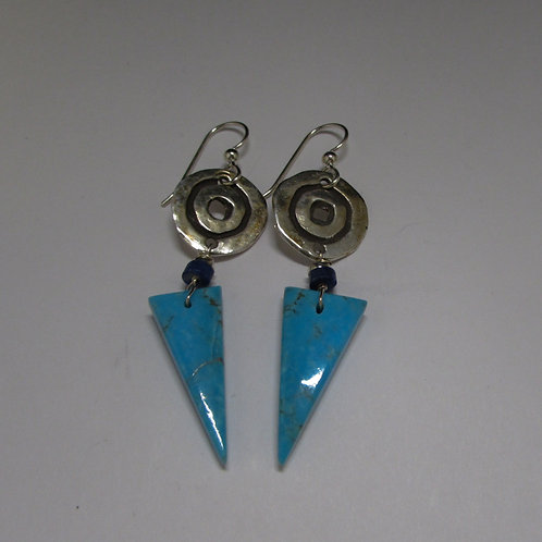 Sterling silver turquoise and lapis bead earrings.