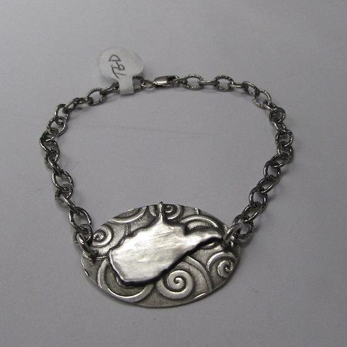 Handcrafted sterling silver West Virginia bracelet.