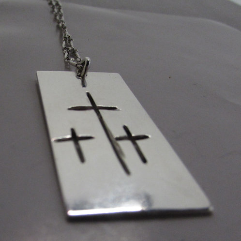 Hand made sterling silver three cross necklace.