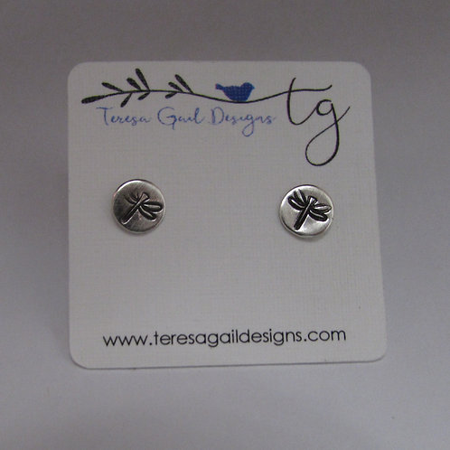 Handcrafted sterling silver dragonfly earrings.