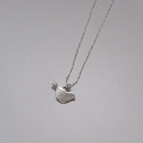 Handcrafted sterling silver bird necklace.