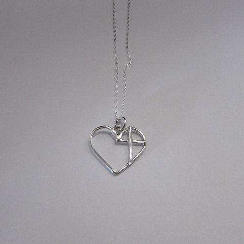 Handcrafted sterling silver heart / cross necklace.