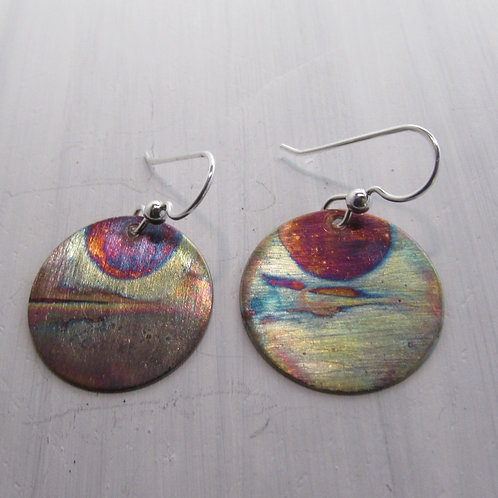 Handcrafted copper patina earrings with sterling silver ear wires.