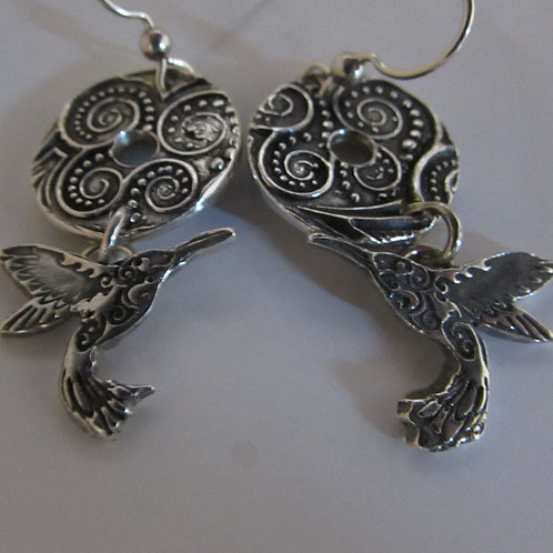 Hand fabricated sterling silver hummingbird earrings.