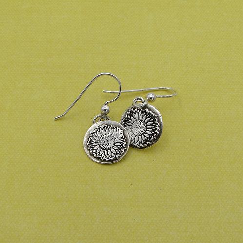 Handmade sterling silver sunflower earrings.
