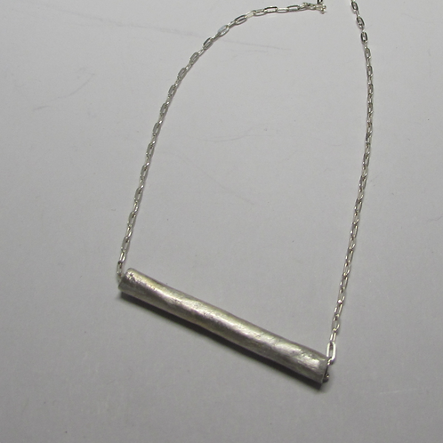 Handcrafted sterling silver tube necklace.