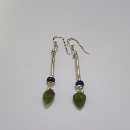 Handcrafted sterling silver earrings with lapis and idocrase stones.