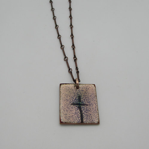 Handmade copper enameled cross.