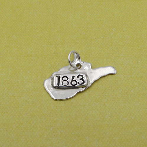 Sterling silver West Virginia charm.