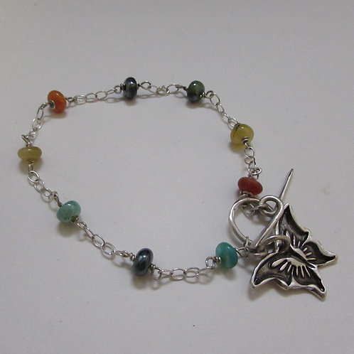 Handcrafted sterling silver butterfly bracelet.